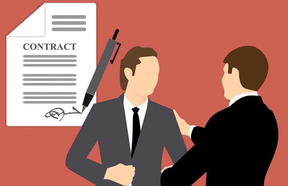 A vector image of an employer and employee along with an employment contract